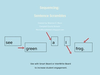 Sequencing: Sentence Scramble (Fully Editable) (2013 Reading Street Compatible)