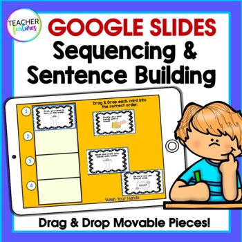 Paperless Digital Task Cards for Google Classroom Writing Sentences & Sequencing