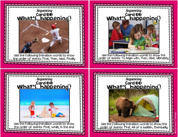 Sequencing {Sequence of Events} Reading and Writing Task Cards