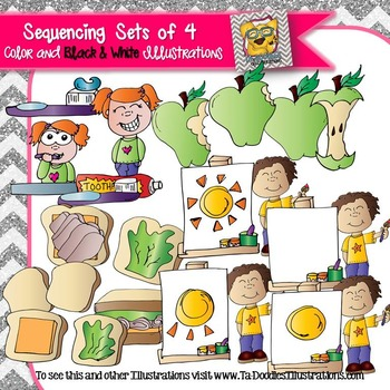 Sequencing Sets of 4 Clip art