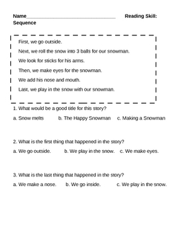 Sequencing Skill-How to build a snowman