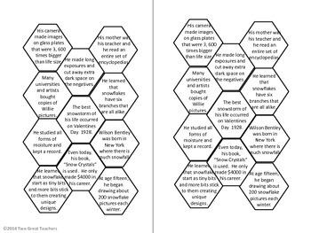 """Sequencing """"Snowflake Bentley"""" by Jacqueline Briggs Martin"""