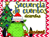 Sequencing Stories for DECEMBER in Spanish Secuencia de cuentos