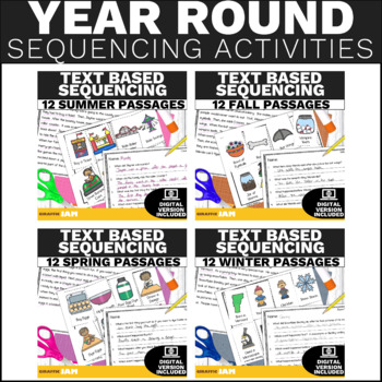 Sequencing Stories with Pictures Activity - Year Long Growing Bundle