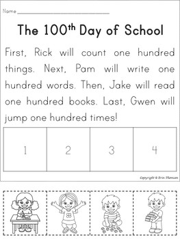 Sequencing Story ~ The 100th Day of School