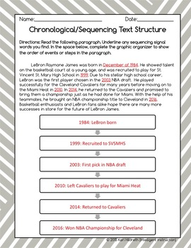 Chronological / Sequencing Text Structure: Graphic Organizer Worksheet