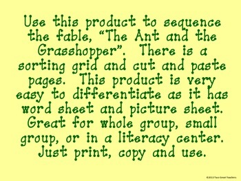 """Sequencing """"The Ant and the Grasshopper"""""""