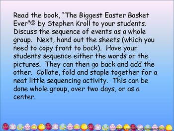 "Sequencing ""The Biggest Easter Basket Ever"""