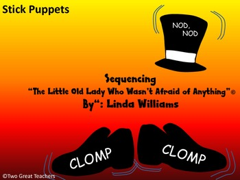"""Sequencing """"The Little Old Lady Who Wasn't Afraid of Anything"""" Stick Puppets"""