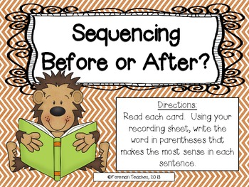 Sequencing - Using Recipes, Before or After, Steps in a Process