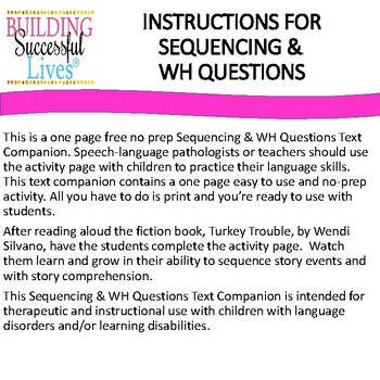 Sequencing & WH Questions: Turkey Trouble