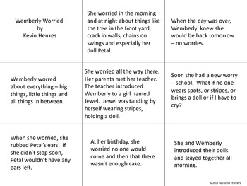 """Sequencing """"Wemberly Worried"""" by Kevin Henkes"""