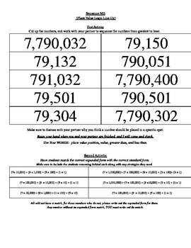 Sequencing Whole Numbers Ten Thousands to Millions