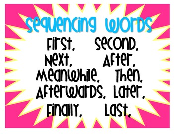 Sequencing Words Poster by Everything Elementary | Teachers Pay ...