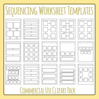 Sequencing Worksheet Templates / Layouts Clip Art Set for