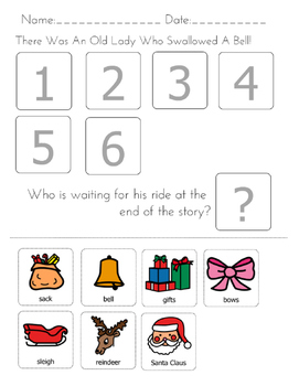 """""""There was an Old Lady Who Swallowed A Bell"""" Sequencing Worksheet"""