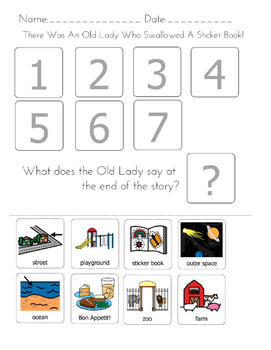 """""""There was an Old Lady Who Swallowed A Sticker Book!"""" Sequencing Worksheet"""