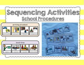 Sequencing activities. School procedures. Autism. File folder activities.