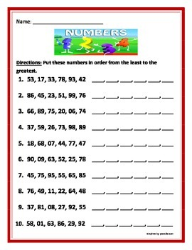 Sequencing numbers in order from the greatest to the least.