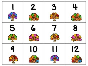 Sequencing numbers turkey themed