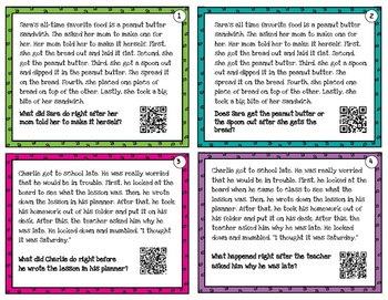 Sequencing - task cards for scoot or review with or without QR codes