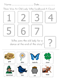 """There was an Old Lady Who Swallowed a Clover"" Sequencing Worksheet"