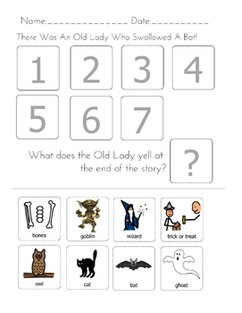 """There was An Old Lady Who Swallowed a Bat"" Sequencing Worksheet"