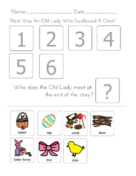 """There was An Old Lady Who Swallowed a Chick"" Sequencing Worksheet"