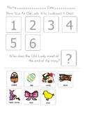 """""""There was An Old Lady Who Swallowed a Chick"""" Sequencing Worksheet"""