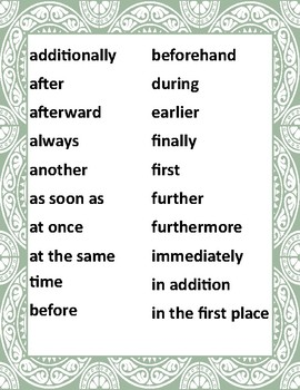 Sequential Words and Phrases