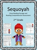 Sequoyah Close Reading Passage and Reading Comprehension Sheet