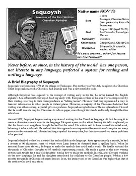 Sequoyah - Reading Passage About The Cherokee