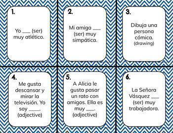 Ser + Adjectives & Gustar + Infinitives 30 TASK CARDS