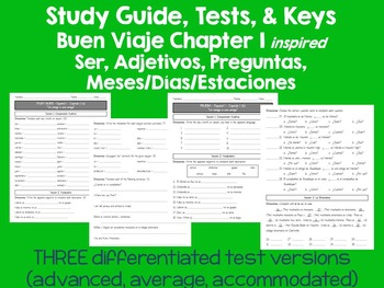 Ser, Adjetivos, Meses, Días Español TESTS (differentiated) & Study guide