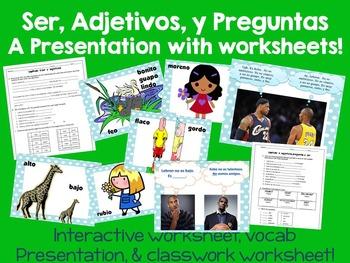 Ser, Adjetivos, y Preguntas PowerPoint Presentation & Worksheets Buen Viaje Ch 1