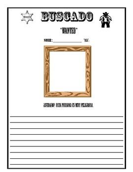 Ser + Descriptive Adjectives - Wanted Poster!