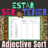 Ser Estar Tener Adjectives to Describe People Spanish Worksheet Word Sort