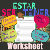 Ser - Estar - Tener Worksheet Game Spanish
