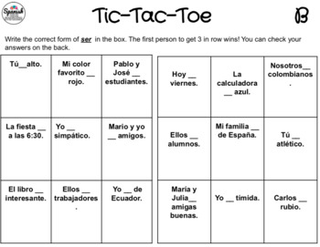 Ser: Spanish Tic-Tac-Toe Game