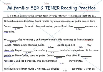 Ser & Tener Reading Practice with La Familia