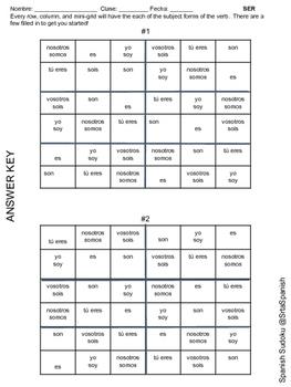 Ser & Tener- Spanish Sudoku