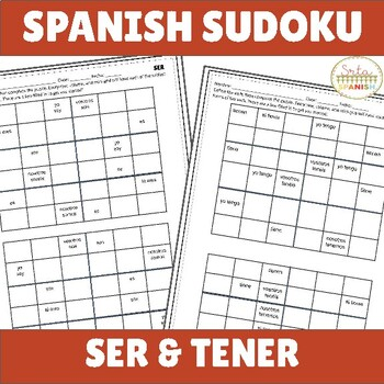 Present Tense Ser and Tener Spanish Sudoku Activity