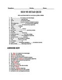 Ser Vs. Estar Quiz Spanish 1 with answer key
