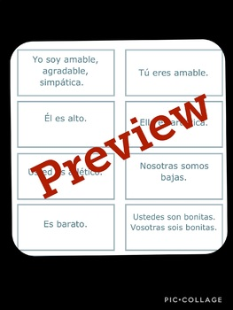 Spanish Subject Pronoun, Ser, and Adjective TASK CARDS