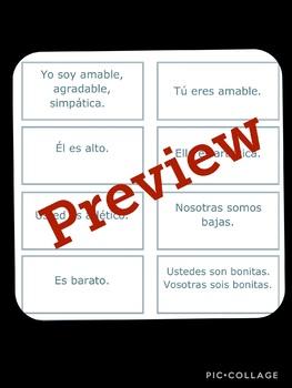 Spanish Subject Pronoun, Ser, and Adjective Sentence TASK CARDS