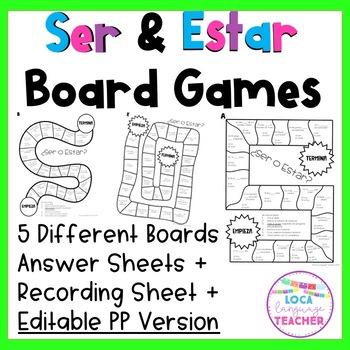 Ser and Estar Practice - EDITABLE Board Games