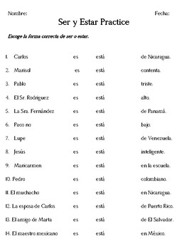 Ser and Estar Practice Spanish