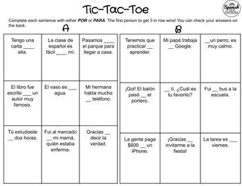 Por vs. Para: Spanish Tic-Tac-Toe Game