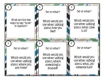 Ser and Estar - Task Cards