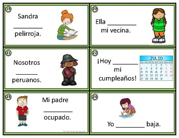 Ser and Estar Task Cards - Present and Past Tense Compatible